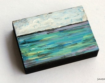 "Impressionist Painting, 2.5x3.5"" Mini Painting, Original Mixed Media, Impressionism, Landscape Painting, Abstract Art, ""Water Series No. 1"""