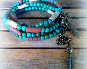 Ceramic jewelry Handmade ceramic beads Earth color Beaded Wrap Bracelet native style feather charm turquoise/lapis stone beads boho
