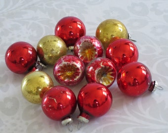 Vintage Feather Tree Indent Ornaments  /  Mini Red Indent and Orb Ornaments  /  Miniature Glass Ornaments