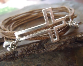 PUNCHED CROSS - brown wrap bracelet (979)