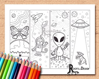 INSTANT DOWNLOAD Coloring Page - Space theme Color your own fun bookmarks, doodle art, printable, Coloring bookmarks