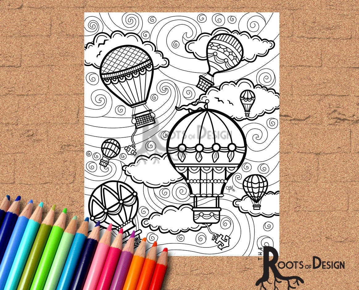 INSTANT DOWNLOAD Coloring Page Hot Air Balloons Vintage