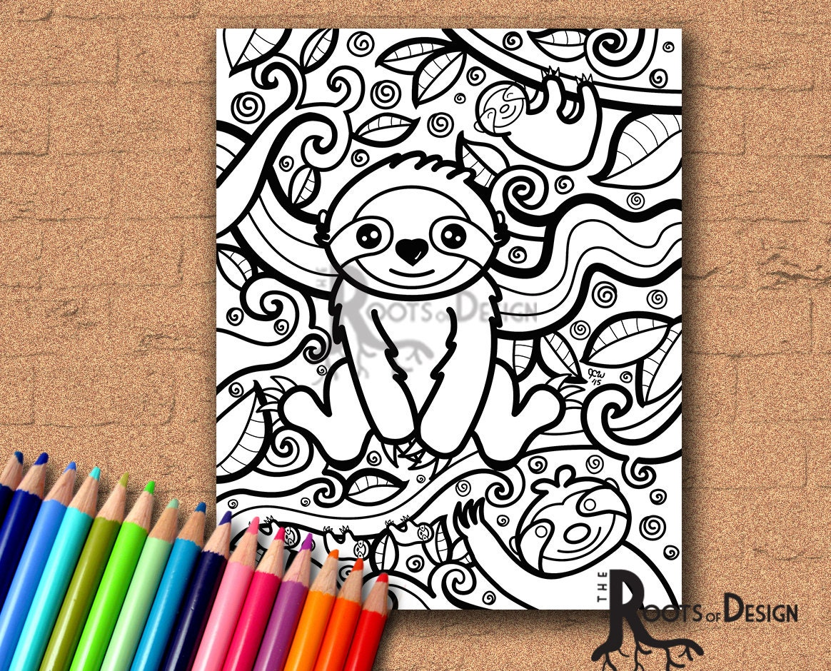 instant download coloring page sloth art coloring print