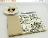 MOVING SALE Classic Guest Book, 6.5 x 9.5, Unlined, Gray Cherry Blossoms