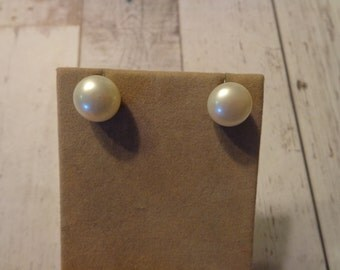 Gorgeous Large Button Freshwater Pearl Pierced Post Earrings 925 Sterling Silver Estate