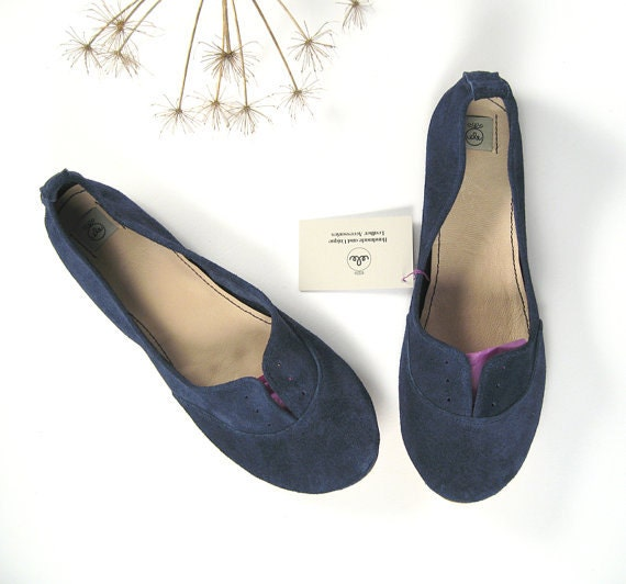 Navy Blue Soft Suede Handmade Oxfords Shoes - Reserved for Kate