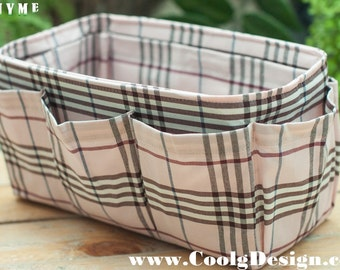 Purse organizer Insert / Bag Organizer / Extra Sturdy / Pink Plaid / Large 25x10cm