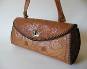 Dandy leather roll barrel bag tooled leather vintage purse Mexico floral detail