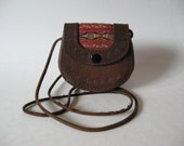 Small dark brown Aztec Southwest tooled leather vintage purse woven striped blanket detail Mexico