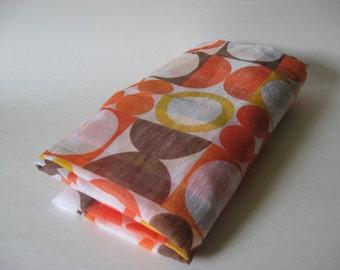 Semi sheer atomic mod panton print style vintage pinch pleat curtain panel 70s circles dots brown orange yellow on white
