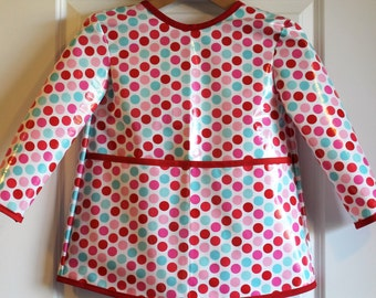 Extra Long Girls Long Sleeved Art Smock School Smock with Multi Dots