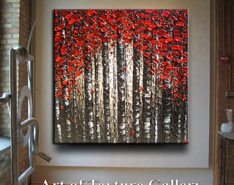 4 Ft Huge Original Abstract Texture Modern Impasto Oil Red Beige Gray Brown Black Trees Birch Sculpture Knife Oil Painting by Je Hlobik