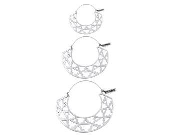 Silver Boho Earrings - Azteka Hoops - Geometric Earrings - 3 Sizes
