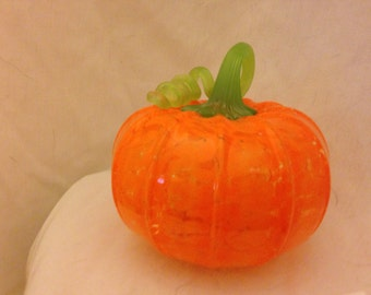 Hand- blown glass pumpkins, made in Corning NY, opaque orange green stem