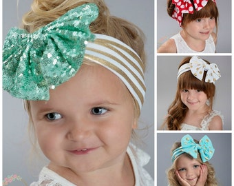 Baby Headbands, CHOOSE COLOR Girls Head wraps,Gold Messy Bow Baby Head wraps, Jersey Knit Headwraps, Big Bow Baby Headbands, Knott Headband,