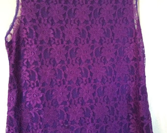 lace tank top Victoria's Secret medium sleeveless/80s/cotton blend with rayon and nylon,purple lace overlay front