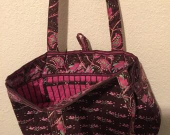 Purse/shoulder straps/pockets/NWOT/Cotton/Oriental print brown& pink