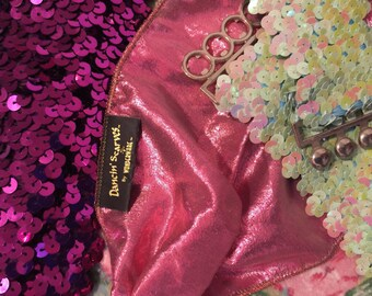 Lot of 3: 2 sequin belts/sash/; & 1 metallic pink scarf with ring holder/(belts are fuchsia and Aurora borealis blue), PLZ see details!