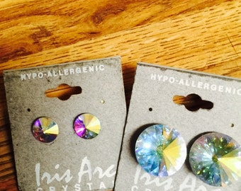 Sale! Iris arc rare crystal Aurora borealis earrings nwt discontinued Color changing/htf large  Multi color rainbow