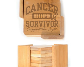 Wooden Square Coasters - Set of 6 with holder - 2558 Cancer Survivor
