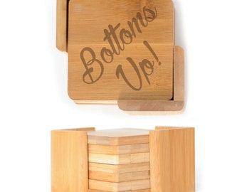 Wooden Square Coasters - Set of 6 with holder - 2595 Bottoms Up!