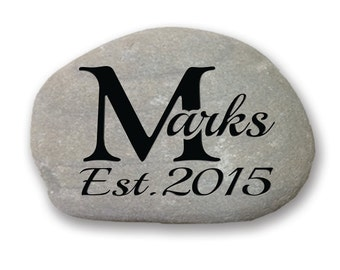 Personalized engraved garden stone on all natural river rock for outdoor decor custom name design Last Name w/ large monogram & Dates