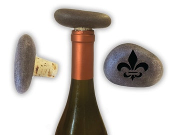 Engraved Symbol Wine Stopper on Natural Stone  - 6861 Fleur De Lis
