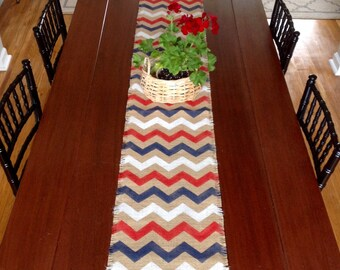 New England Patriots Or Buffalo Bills Burlap Chevron Rustic Table Runner/  Red, White And