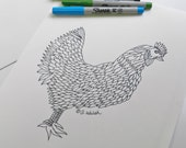 All Ages Coloring Page. Chicken Hen. Farmhouse. Animal Coloring. All Ages. Hospital Stay Gift. Recovery.  Stress Relief. Zen Meditation.