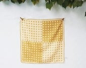 Vintage Polka Dot Scarf, Womens Vera Scarf, Gold and Beige Scarf, Square, Made in Japan