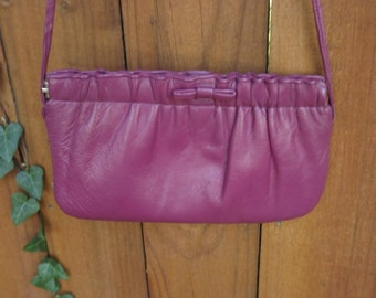 1980's Mod Bag, Vintage Shoulder Bag, Fuchsia Bag, Purple Shoulder Bag, Small Leather Bag. Small Purse, Pink Ruffle and Bow Bag