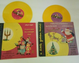 2  vintage little golden records Christmas songs for children