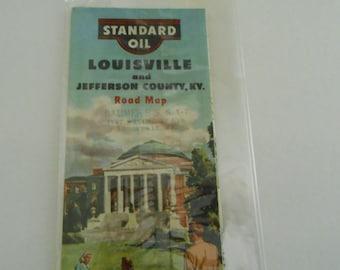Standard Oil  Louisville Ky road map 1950