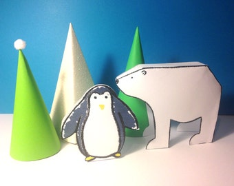 Craft Kit - Make your own paper Arctic Adventure Animal Scene - Children's activity