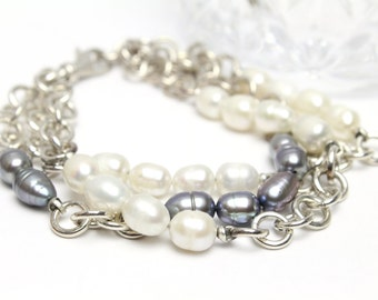Sterling Silver and Genuine Pearl Bracelet