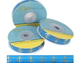 "Pacific Blue with Gold Anchors - Fold Over Elastic - Solid FOE - 5/8"" Wide - 5 Yards Wholesale"
