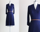 Pleated Dress . Vintage Navy Blue Dress . Long Sleeve Dress