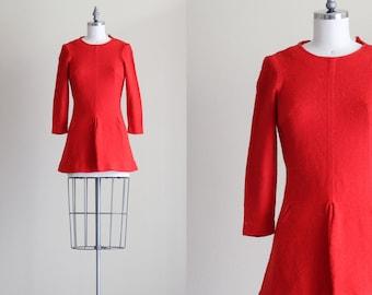 SALE - 60s Mini Dress . Long Sleeve Red Dress . Mod Gogo Dress