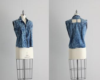 Acid Wash Denim Shirt . Vintage Chambray Shirt . Womens Cutout Top