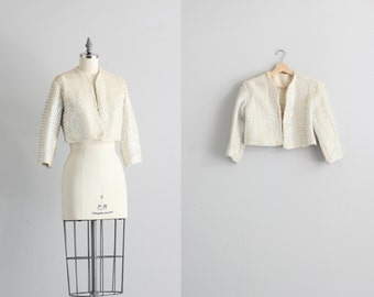 Vintage Bolero Jacket . 50s 60s Evening Jacket . White Sequined Jacket