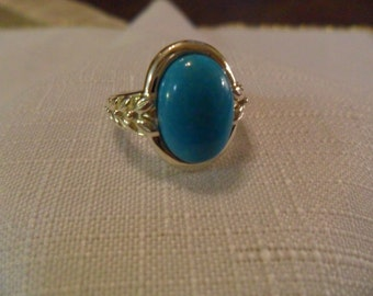 Vintage Sterling Silver Turquoise Ring Size 6