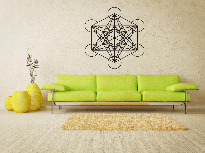 Metatrons cube wall decals yoga bedroom decor sacred - Cube wall decor ...
