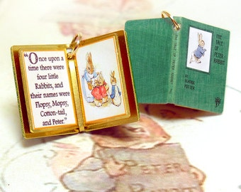 The Tale of Peter Rabbit by Beatrix Potter - Miniature Book Charm Quote Pendant- for charm bracelet or necklace. Custom available!