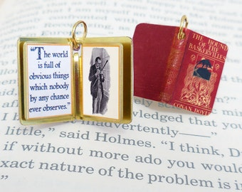 The Hound of the Baskervilles (Sherlock Holmes) by Arthur Conan Doyle - Miniature Book Charm Quote Pendant - for charm bracelet or necklace.