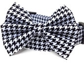 Houndstooth Dog Collar & Bow Tie / Black White Houndstooth Collar with Bow Tie / Dog Bowtie / Black White Dog Collar / Boy Dog Collar