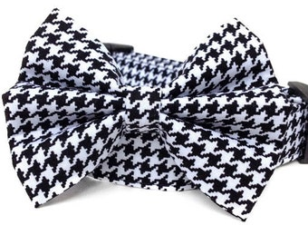 Houndstooth Dog Collar & Bow Tie / Black White Houndstooth Collar with Bow Tie / Dog Bowtie / Black White Dog Collar / Boy Dog Collar