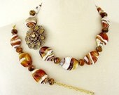 Rootbeer, Amber And White Chunky Statement Necklace, Asymmetrical, Repurposed Brooch, Big Bold Floral Necklace Set