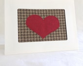 Houndstooth Anniversary Card - Love Card - Red Heart Card