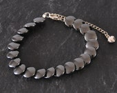 Hematite Bracelet  Black Grey Semi Precious Stone Beaded Fish Scale Bracelet Sterling Silver Jewellery Gift for Her by Emma Dickie Design