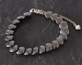 Hematite Bracelet - Black Grey Semi Precious Stone Beaded Fish Scale Bracelet Sterling Silver Jewellery Gift for Her by Emma Dickie Design
